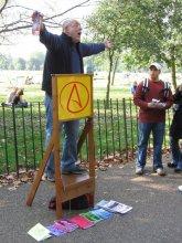 Man at Speaker's Corner in London's Hyde Park (edited)