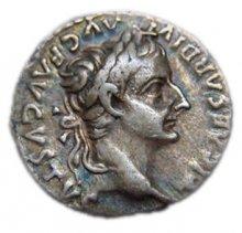 Denarius (coin) featuring the profile of Emperor Tiberius